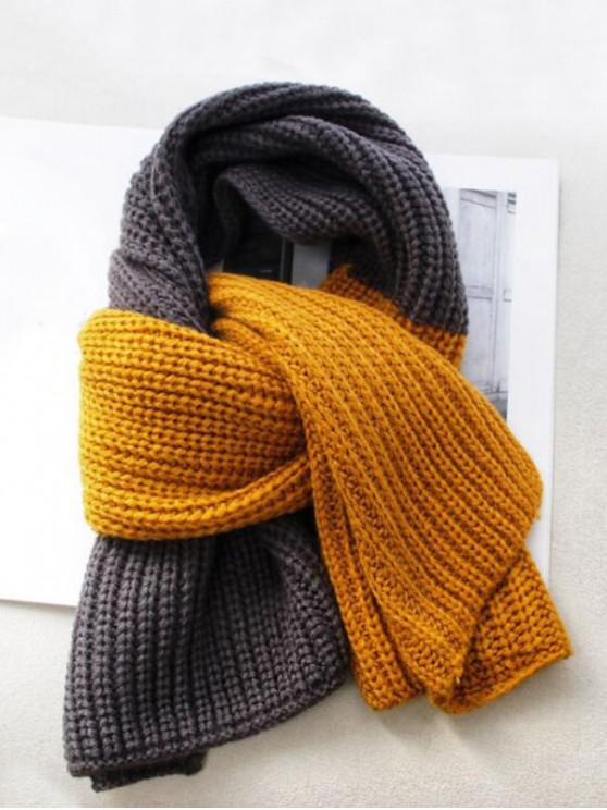 buy Winter Colorblock Knitted Neck Scarf - GOLDEN BROWN