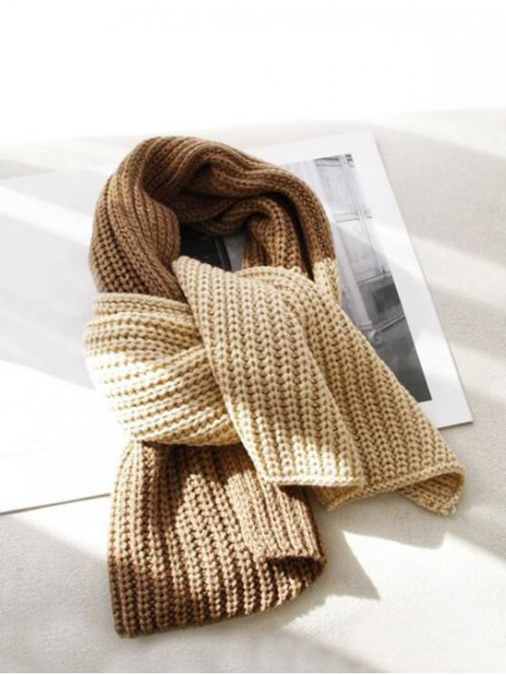 online Winter Colorblock Knitted Neck Scarf - BEIGE