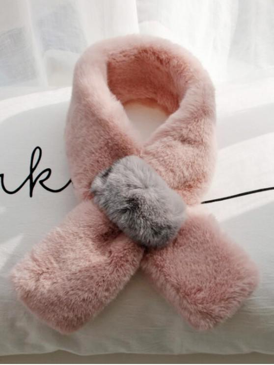 Farbblock- Künstliche Pelz-Ansatz-Schal - Rosa