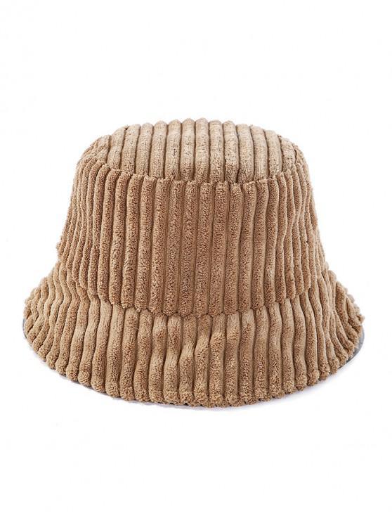 women Corduroy Striped Bucket Hat - KHAKI