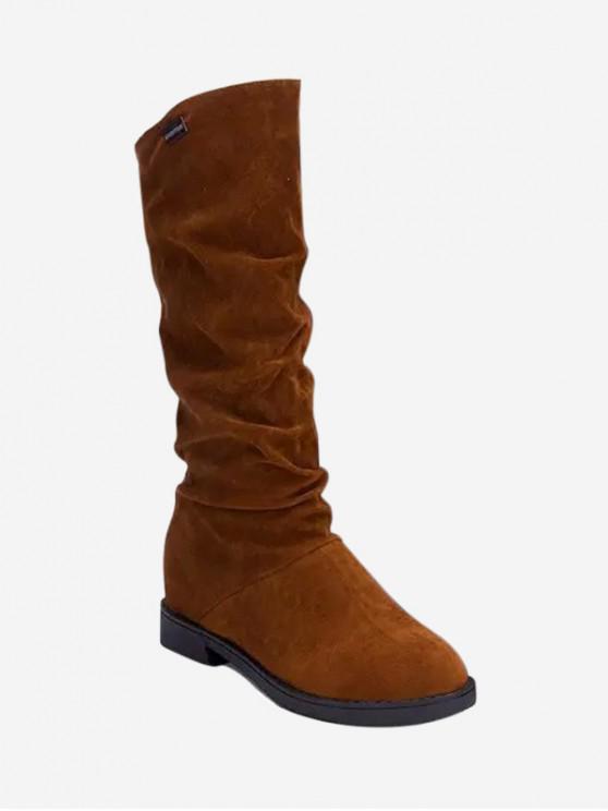 增加的內部褶飾中秋節小腿長靴 - 棕色 歐盟39