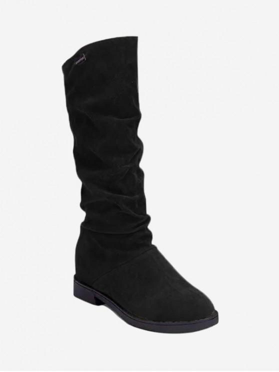 trendy Increased Internal Ruched Mid Calf Boots - BLACK EU 36