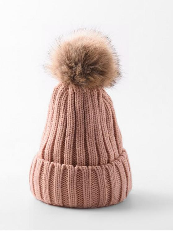 trendy Winter Solid Simple Bobble Hat - PINK