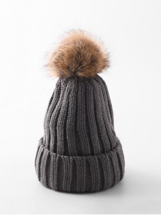 affordable Winter Solid Simple Bobble Hat - GRAY