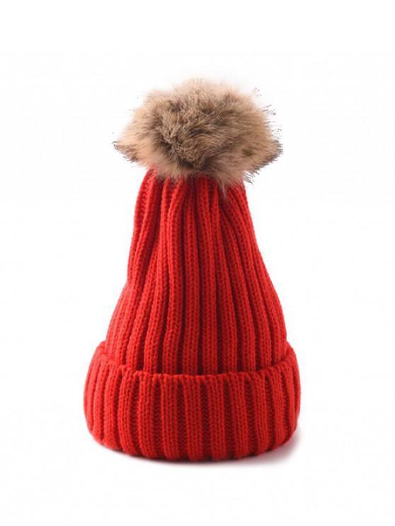 Winter Einfarbige Einfache Pudelmütze - Rot