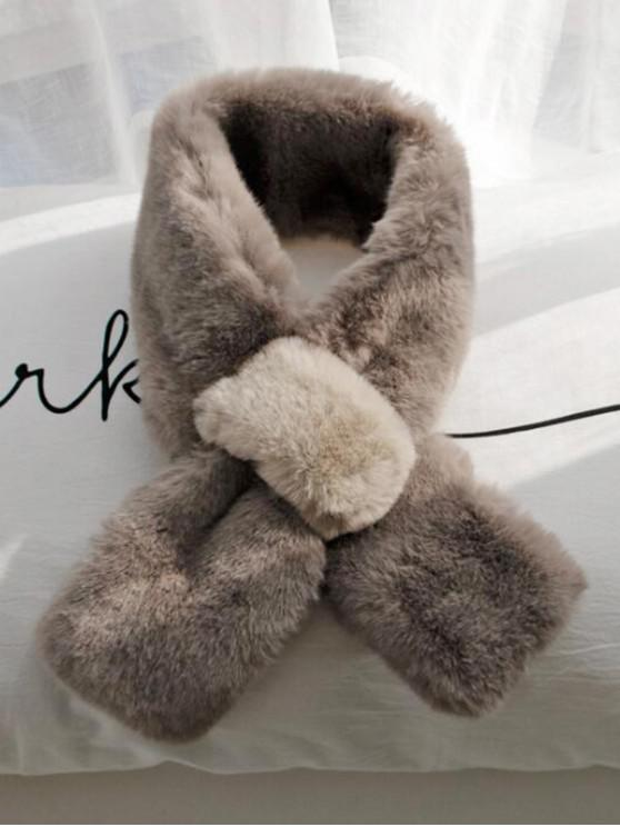 ladies Colorblock Faux Fur Neck Scarf - COFFEE