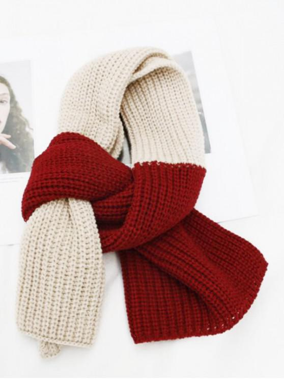 lady Winter Colorblock Knitted Neck Scarf - RED WINE