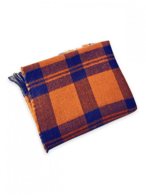online Plaid Pattern Reversible Fringe Scarf - CHOCOLATE