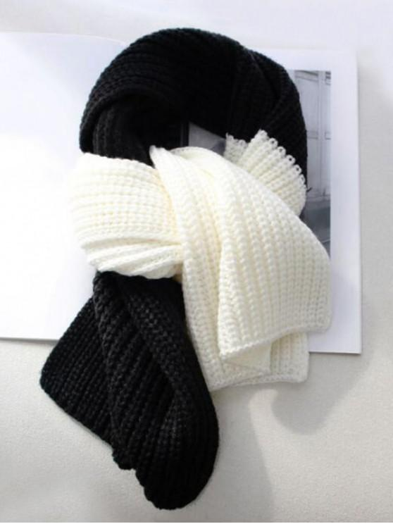 hot Winter Colorblock Knitted Neck Scarf - BLACK