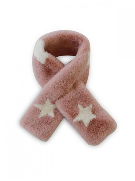 latest Faux Fur Star Print Neck Scarf - PINK