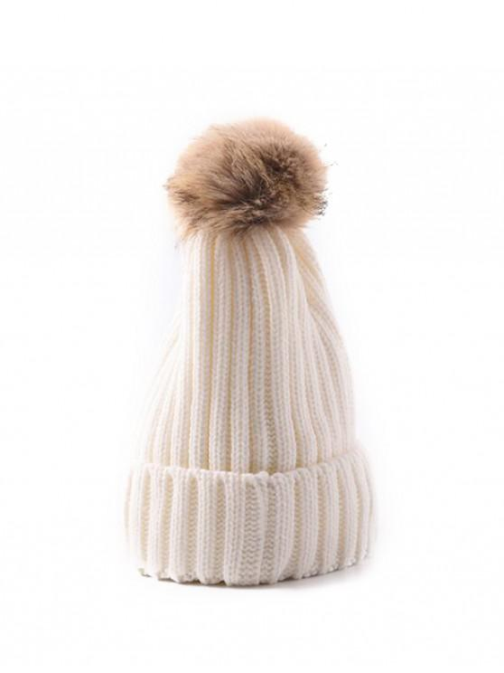 chic Winter Solid Simple Bobble Hat - WHITE