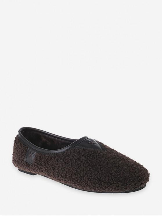 outfit Piped Fuzzy Slip On Flat Shoes - BROWN EU 40