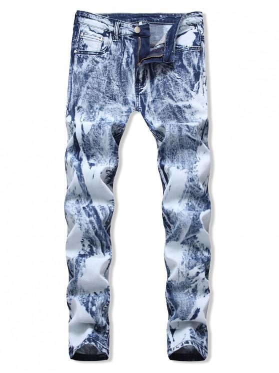 Casual imprimate Zip Fly design jeans - Albastru deschis 40