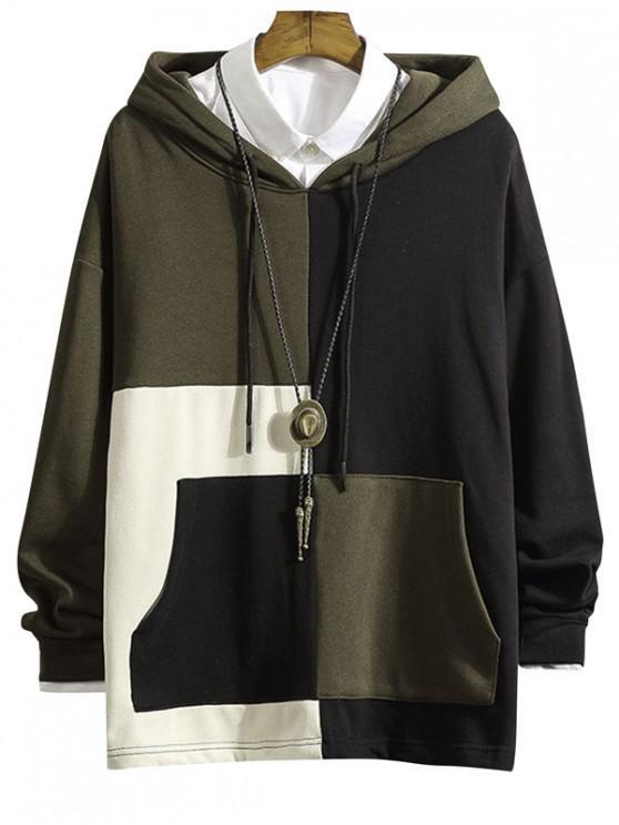 women Color Blocking Spliced Drop Shoulder Hoodie - ARMY GREEN XL