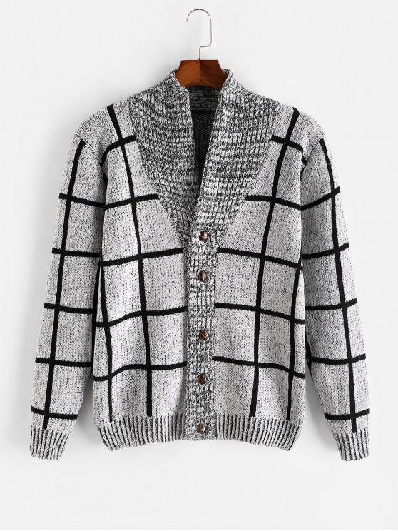 women Checkered Geometric Graphic Button Knitted Jacket - GRAY S