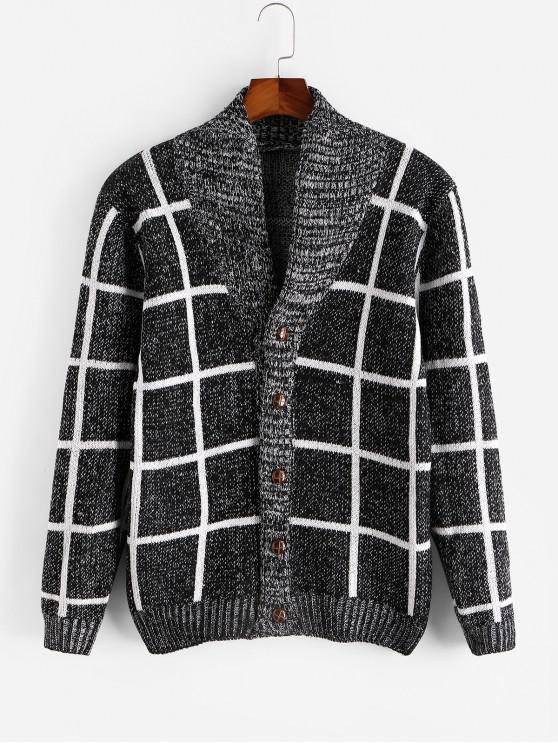 women's Checkered Geometric Graphic Button Knitted Jacket - BLACK XS