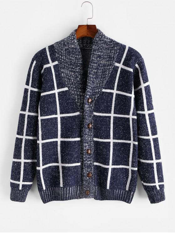 lady Checkered Geometric Graphic Button Knitted Jacket - BLUE XS