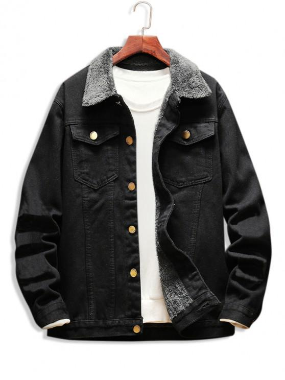 latest Faux Shearling Lined Button Up Denim Jacket - BLACK L
