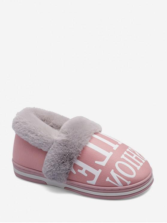 buy Letter Graphic Fuzzy Trim Casual Snow Boots - LIGHT PINK EU 36