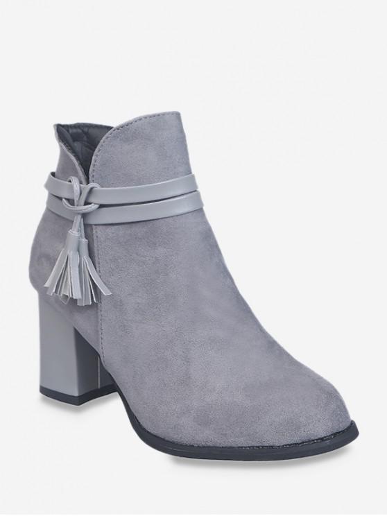 皮革流蘇矮胖鞋跟短靴 - 灰色 歐盟39
