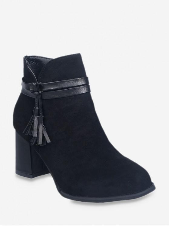 皮革流蘇矮胖鞋跟短靴 - 黑色 歐盟38