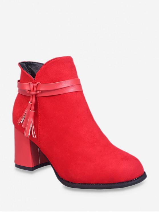 Botines Cuero Tacón Grueso Flecos - Rojo Lava EU 43