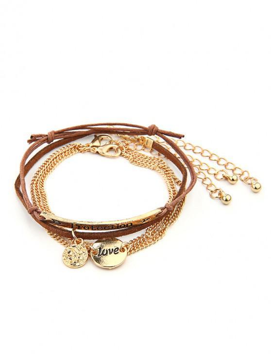 fancy 4Pcs Letters Layers Bracelet Set - GOLD