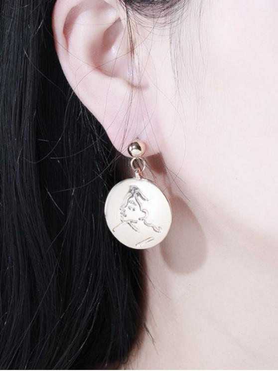 women Engraved Face Disc Drop Earrings - GOLD