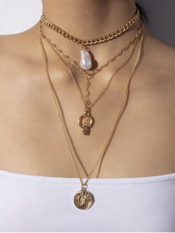 women's Multi Layered Lock Faux Pearl Chain Necklace - GOLD