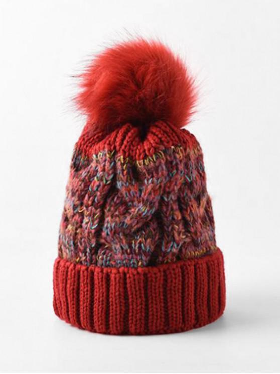 lady Winter Pattern Weaving Bobble Hat - RED WINE