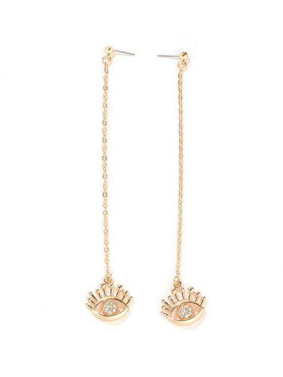 online Rhinestone Eye Long Chain Earrings - GOLD
