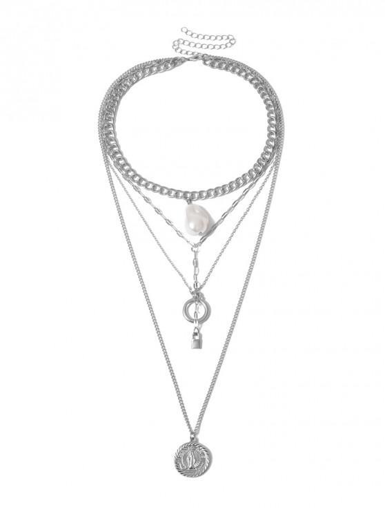 多層鎖定人造珍珠項鍊 - 銀