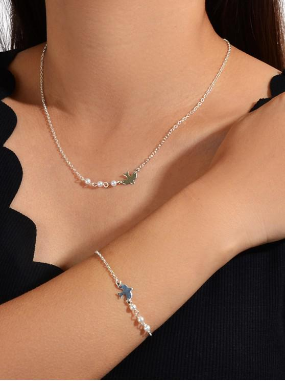 outfits Brief Faux Pearl Bird Jewelry Set - SILVER