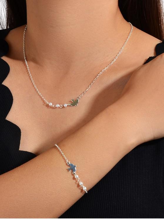 Scurt Faux Pearl Bird Set bijuterii - Argint