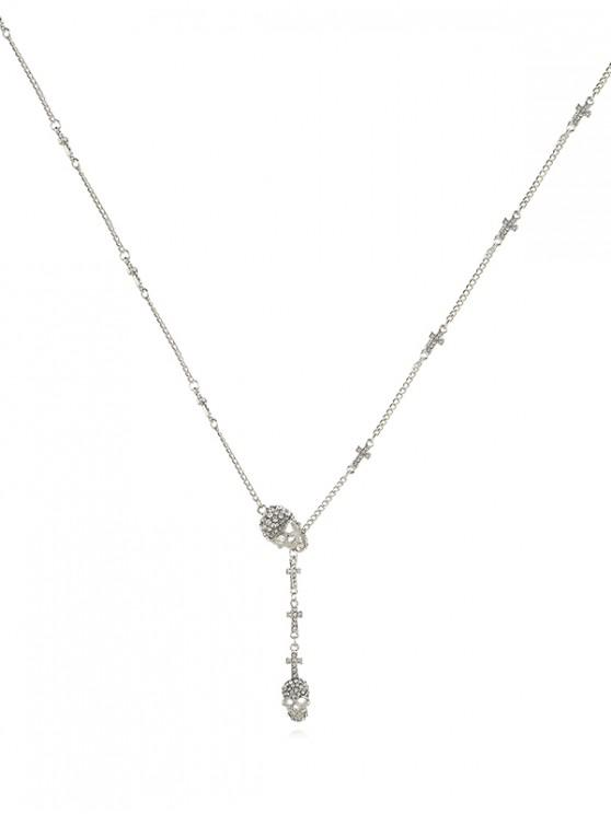 latest Skull Cross Rhinestone Lariat Necklace - SILVER