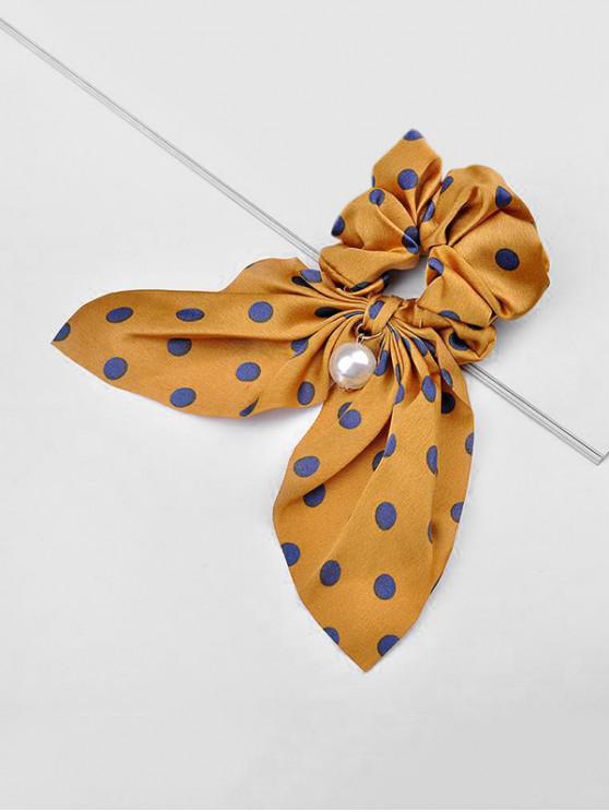 fashion Polka Dot Faux Pearl Bowknot Hair Tie - BEE YELLOW