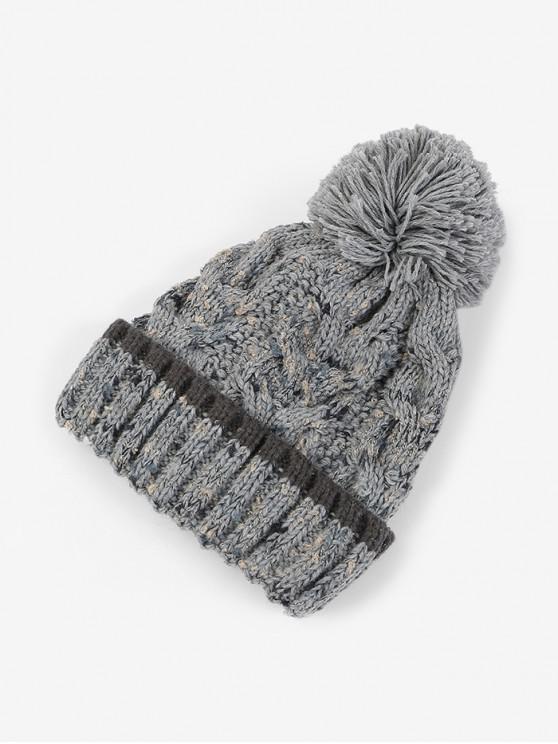 سميكة في فصل الشتاء الكرة غزل الصوف قبعة - رمادي