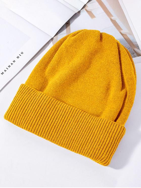 ของแข็งถักยางยืดหมวกฤดูหนาว - สีเหลือง