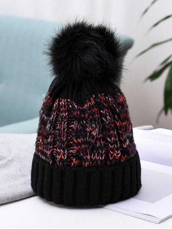 best Winter Pattern Weaving Bobble Hat - BLACK