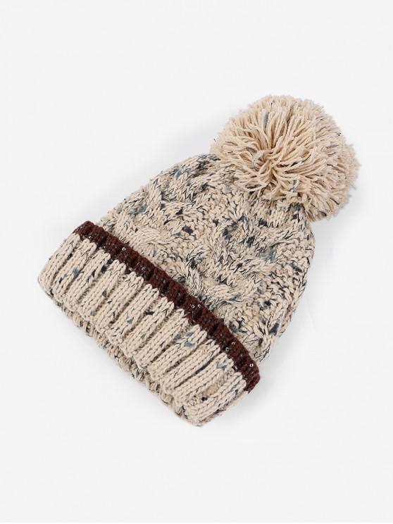 سميكة في فصل الشتاء الكرة غزل الصوف قبعة - اللون البيج