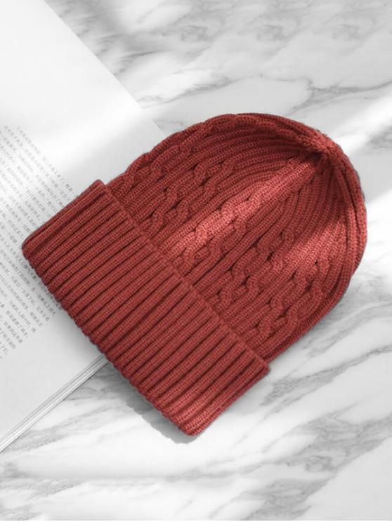 ถักหมวกฤดูหนาว - ไวน์แดง
