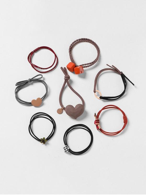 latest 8Pcs Heart Geometric Hair Tie Set - MULTI-A