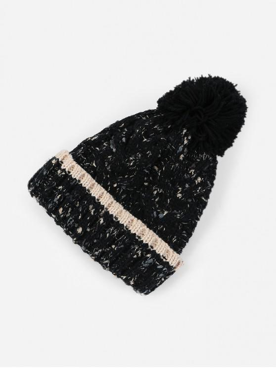 trendy Thick Winter Bobble Woolen Yarn Hat - BLACK