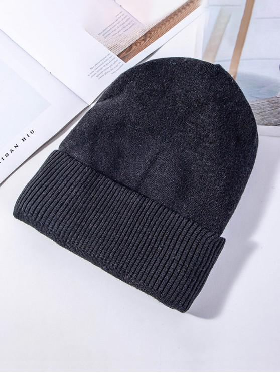lady Solid Knitted Elastic Winter Hat - BLACK