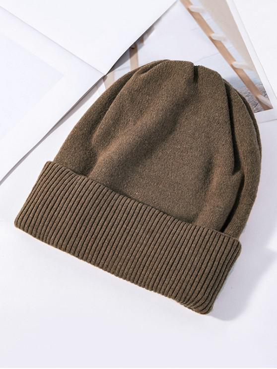 shop Solid Knitted Elastic Winter Hat - COFFEE