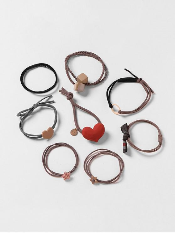 fancy 8Pcs Heart Geometric Hair Tie Set - MULTI-B