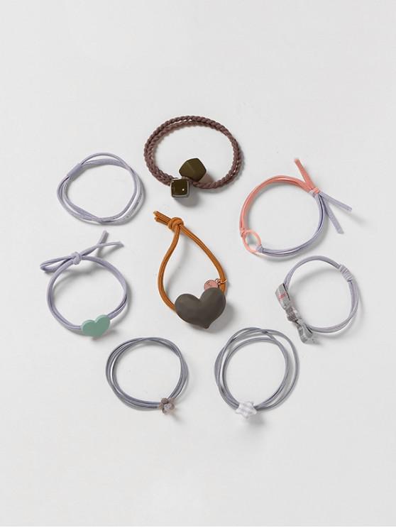 sale 8Pcs Heart Geometric Hair Tie Set - MULTI-E