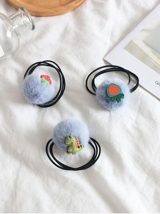 3шт Пушистый шар Динозавр Резинка для волос Набор - Пастельно-синий