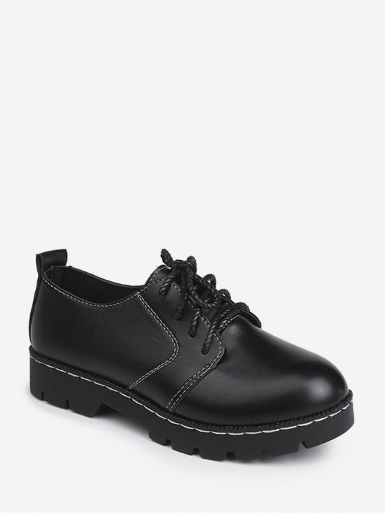 實系帶仿皮鞋 - 黑色 歐盟40