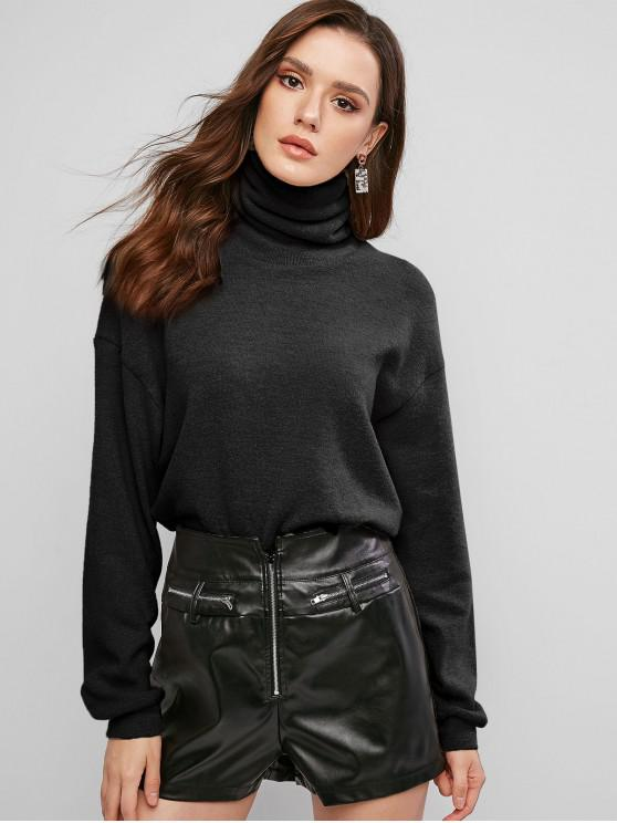 fashion ZAFUL Drop Shoulder Turtleneck Jumper Sweater - BLACK M